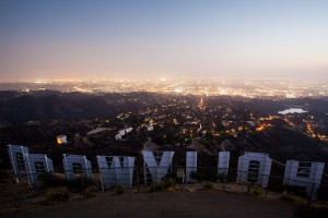 The view over the Hollywood sign at night in Los Angeles, California, USA